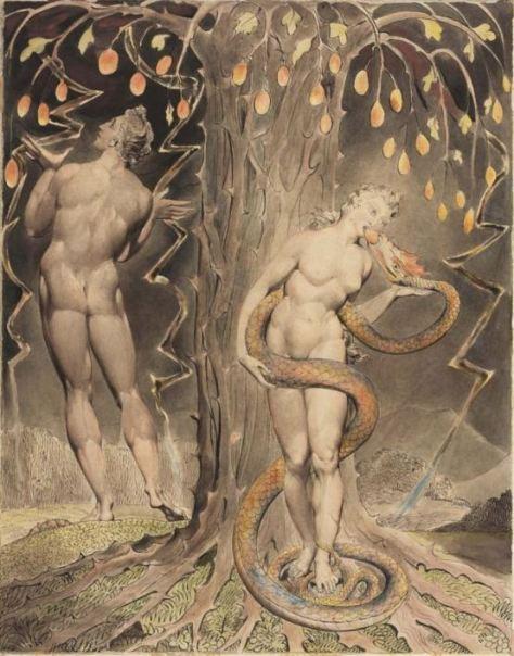 """""""A Tentação e Queda de Eva"""" (1808), uma das ilustrações de William Blake para o poema """"Paraíso Perdido"""" de Milton"""