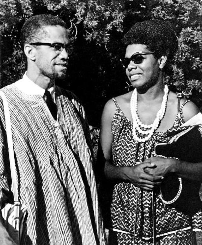 Maya Angelou with Malcolm X in Ghana, 1964.