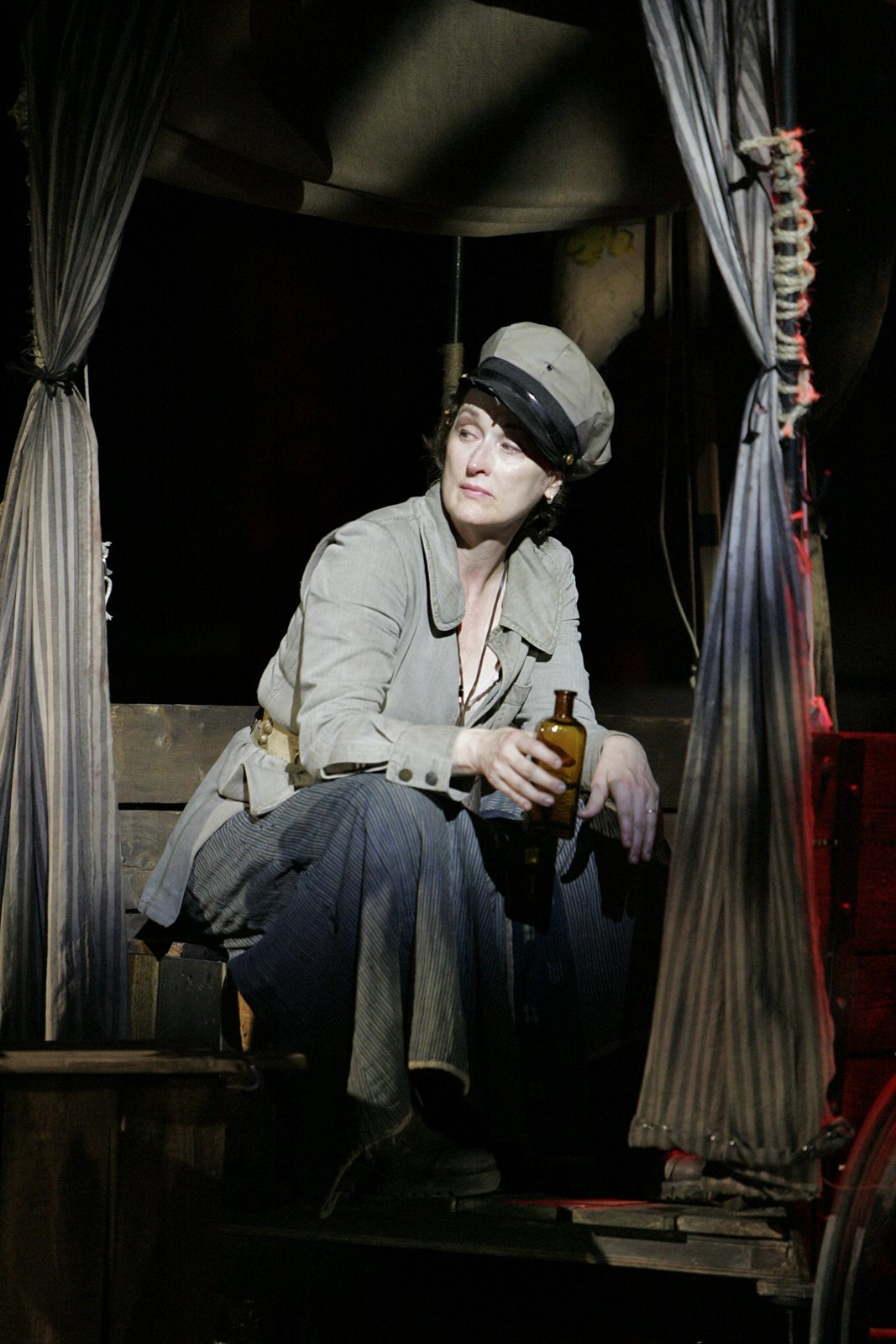 "Meryl Streep as the title character in The Public Theater 2006 production of ""Mother Courage and Her Children"", as featured in John Walter's documentary THEATER OF WAR.  Photo credit: The Public Theater / Michael Daniel."