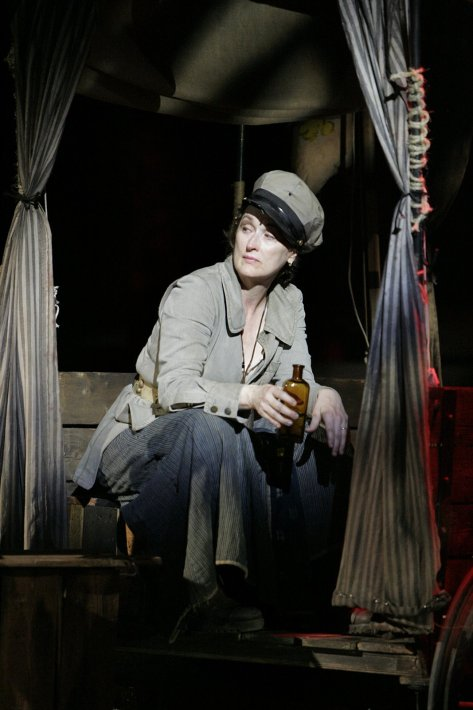 """Meryl Streep as the title character in The Public Theater 2006 production of """"Mother Courage and Her Children"""", as featured in John Walter's documentary THEATER OF WAR.  Photo credit: The Public Theater / Michael Daniel."""