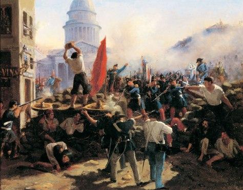 De Horace Vernet. Barricadas nas ruas de Paris durante a Revolução de junho de 1848.