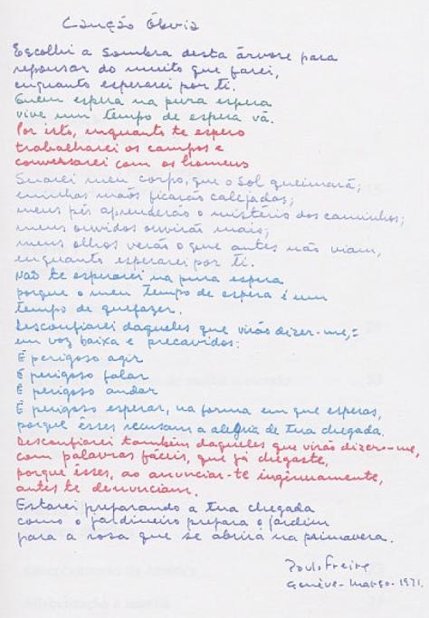 """""""Canção Óbvia"""", por Paulo Freire. Do acervo de Ana Maria Araújo. Freire"""