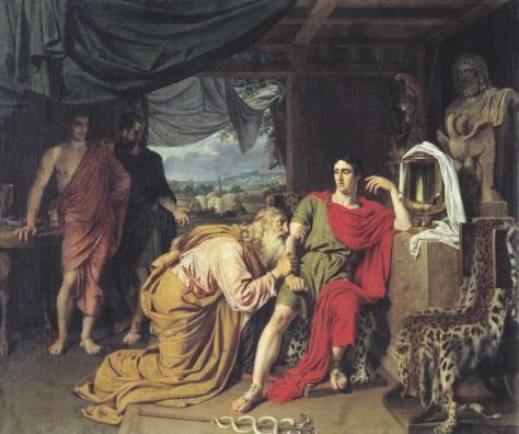 Príamo, rei de Tróia, suplica a Aquiles para que lhe entregue o cadáver de seu filho Heitor. Pintura de Alexander Ivanov, 1824