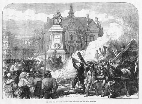 Revolucionários da Comuna de Paris queimam a guilhotina na Praça Voltaire, em 1871. Por Ernst Alfred Vizetelly.
