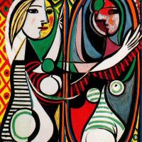 """""""ESPELHO"""", um texto de Gustavo Bernardo [1985] + Pintura de PICASSO, """"Garota Diante do Espelho"""" [1932]"""