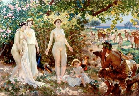 """""""O Julgamento de Páris (Escolha entre Hera, Atenas e Afrodite)"""", de Enrique Simonet (1904)"""