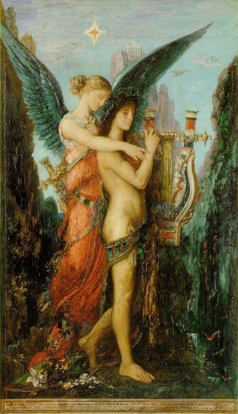 """""""Hesíodo e a Musa"""", de Gustave Moreau"""