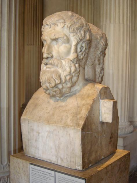 Epicuro & Metrodoro representados em um busto romano. Acervo do museu do Louvre em Paris.