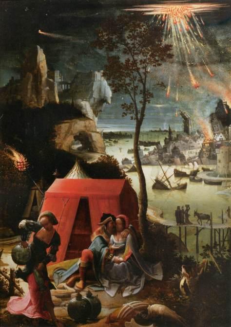 Ló e suas filhas com a destruição de Sodoma e Gomorra ao fundo. Pintura de Lucas van Leyden (1520).