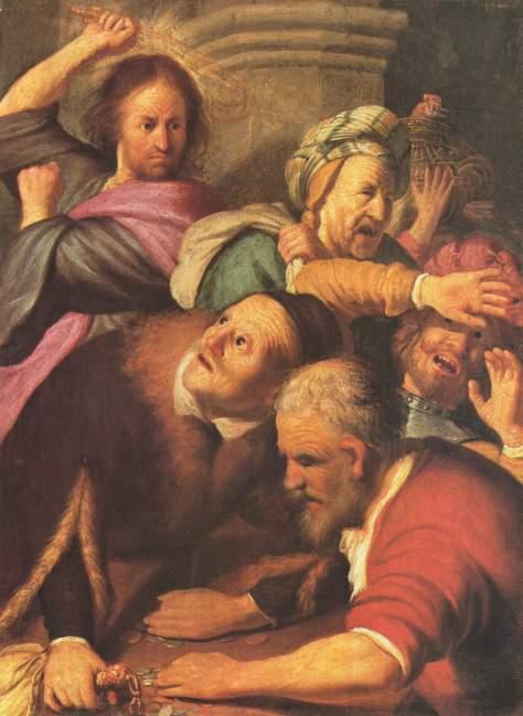 Pintura de Rembrandt: Jesus expulsa os vendilhões do Templo.