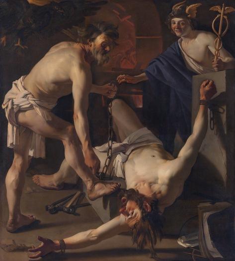 Hefesto acorrentando Prometeu (1623) em tela de Dirck van Baburen
