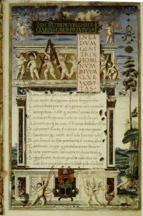 Opening of De rerum natura, 1483 copy by Girolamo di Matteo de Tauris for Pope Sixtus IV