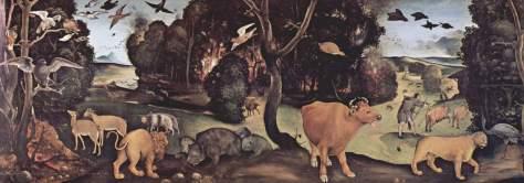 "Pintura de Piero DiCosimo inspirada pelo poema de Lucrécio, ""De Rerum Natura"" (Da Natureza das Coisas)"