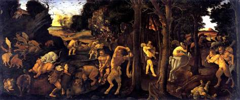 """Pintura de Piero DiCosima inspirada pelo poema de Lucrécio, """"De Rerum Natura"""" (Da Natureza das Coisas)"""