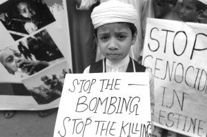 A child in Bangladesh protests Israeli attack on Gaza, July 2014