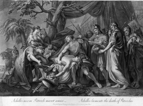 """Aquiles lamenta a morte de Pátroclo; em sua fúria vingativa, em breve matará Heitor (Cenas da epopéia homérica """"Ilíada"""")"""