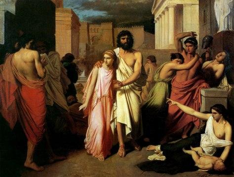 Édipo, após furar os olhos, é guiado por Antigona através de Tebas, rumo ao exílio. Pintura de Charles François Jalabert.