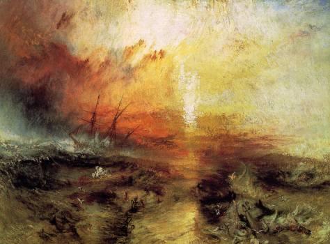 """Obra do pintor inglês, J.M.W. Turner, """"O Navio Negreiro"""" (The Slave Ship), de 1840"""