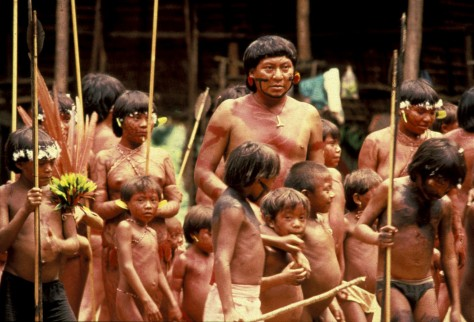Davi Yanomami with Yanomami children, Brazil