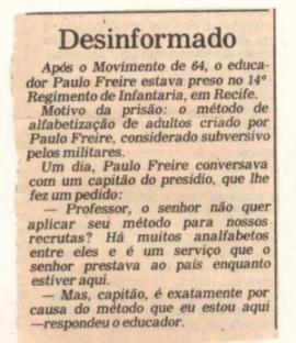 Nota publicada pela Folha de São Paulo no dia 25/09/1987