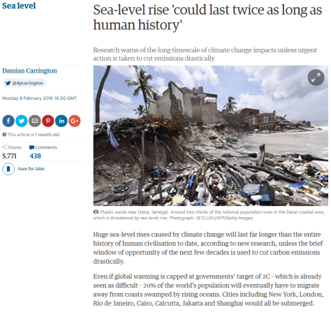 """Matéria do jornal inglês The Guardian realiza previsões sobre a elevação constante do nível do mar causada pelo aquecimento da temperatura global: """"mesmo que consiga-se limitar o aumento de calor a 2 graus Celsius, ainda assim 20% da população global seria obrigada a migrar e mega-cidades seriam submersas, incluindo"""