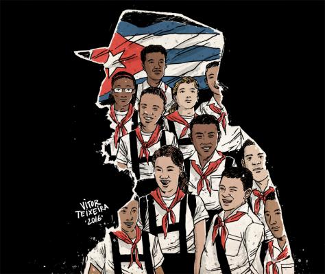 """""""Esta noite milhões de crianças dormirão na rua. Nenhuma delas é cubana."""" - Ilustra por Vitor Teixeira"""