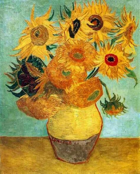 "Van Gogh ""representa"" um vaso de girassóis"