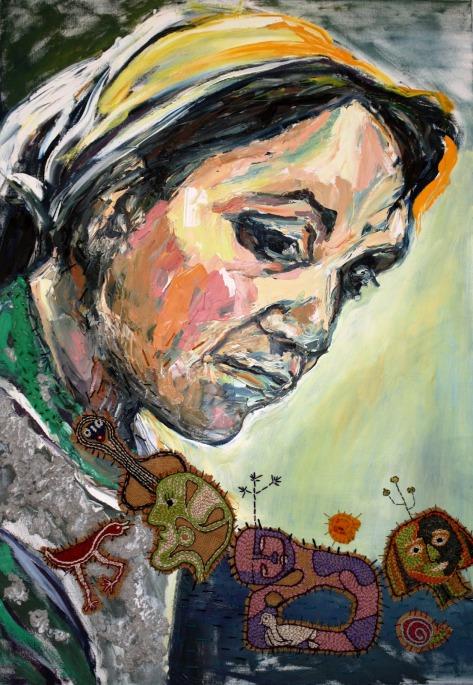 """Pintura de Claudia Martinez dedicada a Violeta Parra: """"Dulce Vecina De La Verde Selva"""""""