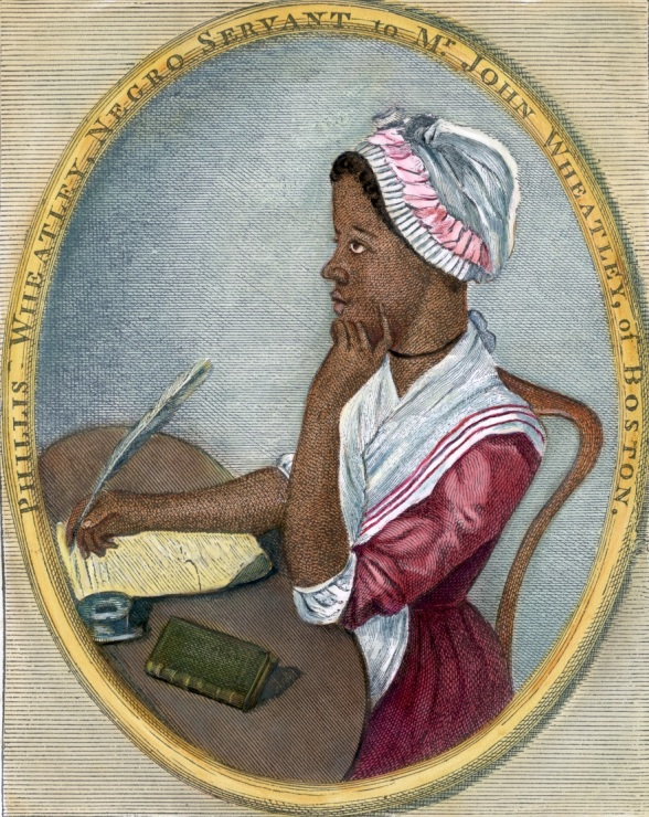 """18th century --- Phillis Wheatley (1753-1784).  Portrait of American poet seated at a desk writing with a quill pen.  Undated hand-tinted color engraving with an original caption station, """"Phillis Wheatley, Negro servant to Mr. John Wheatley, of Boston."""" --- Image by © Bettmann/CORBIS"""